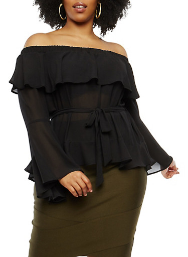 Plus Size Bell Sleeve Off the Shoulder Top,BLACK,large
