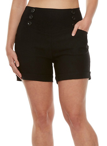 Plus Size Cuffed Sailor Shorts with Back Zipper,BLACK,large