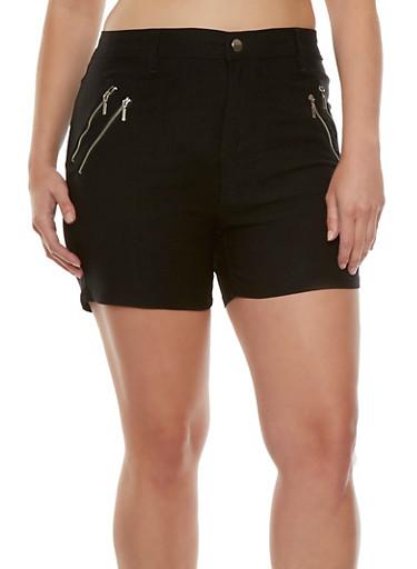 Plus Size Shorts with Double Zipper Accents,BLACK,large