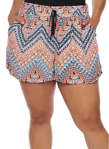 Plus Size Printed Shorts,ORANGE,large