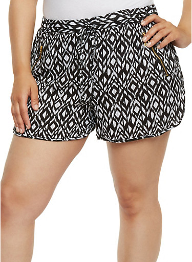 Plus Size Printed Shorts with Side Zippers,BLACK,large