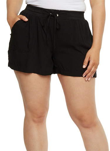 Tie Front Soft Knit Shorts,BLACK,large