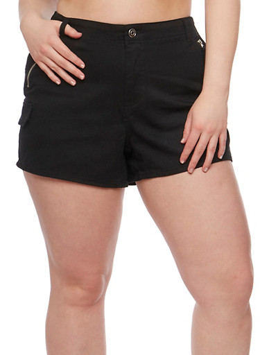 Plus Size Twill Shorts with Zip Trim,BLACK,large