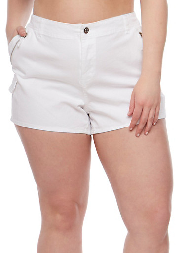 Plus Size Twill Shorts with Zip Trim,WHITE,large