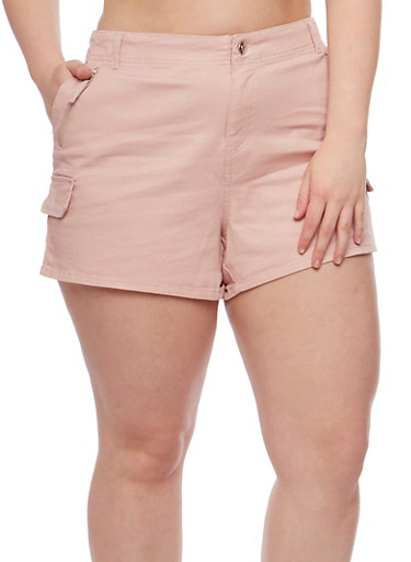 Plus Size Twill Shorts with Zip Trim,BLUSH,large