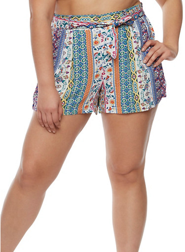 Plus Size Printed Tie Front Shorts,WHITE,large