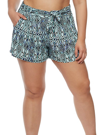 Plus Size Printed Tie Front Shorts,MINT,large