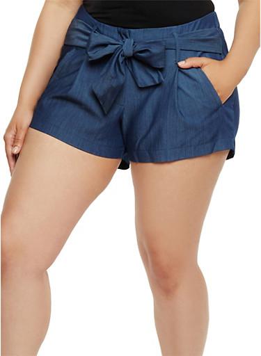Plus Size Pintuck Shorts with Tie Waist,DARK DEN              299,large