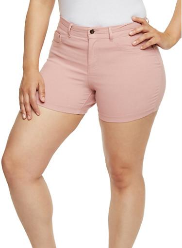 Plus Size Soft Knit  Push Up Shorts,BLUSH,large