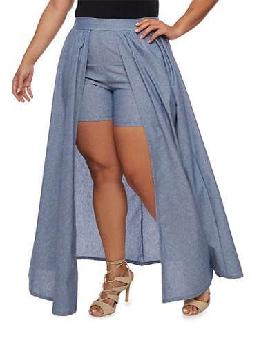 Plus Size Chambray Shorts with Maxi Skirt Overlay,BLUE,large