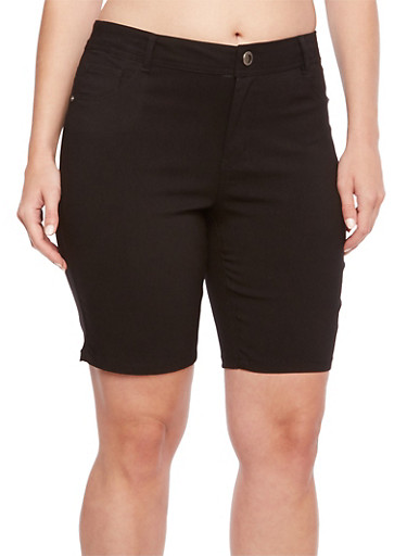 Plus Size Stretch Bermuda Shorts with Two Pockets,BLACK,large