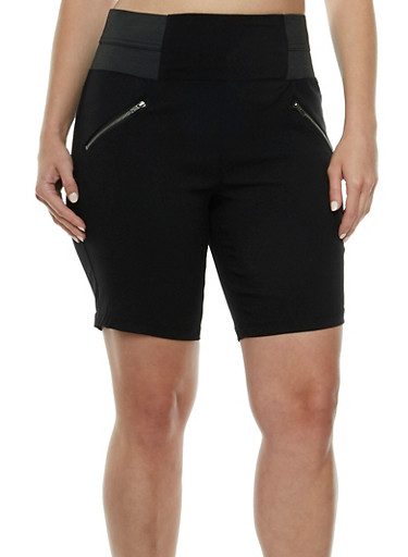 Plus Size Shorts with Front Zip Accents and Elastic Waistband,BLACK,large