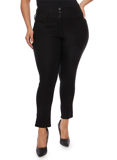 Plus Size 3 Button Wide Waist Skinny Pants,BLACK,large