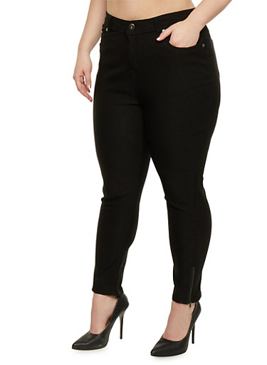 Plus Size Jeggings with Leg Zip Detail,BLACK,large