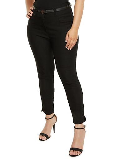 Plus Size Belted Stretch Knit Pants,BLACK,large