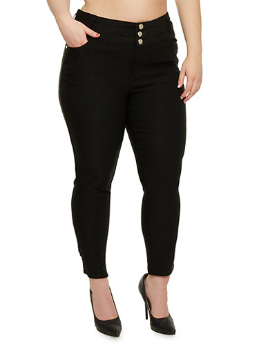 Plus Size High Waist Knit Pants,BLACK,large