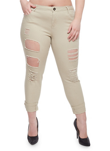 Plus Size Destroyed Roll Cuff Pants,KHAKI,large