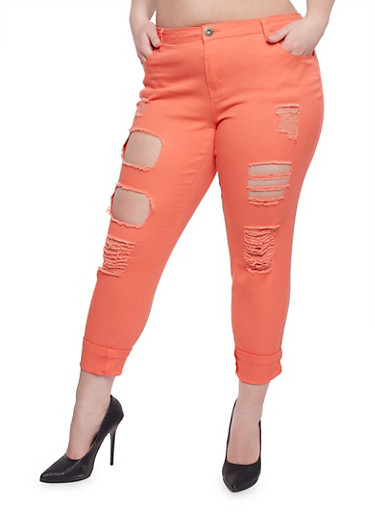 Plus Size Destroyed Roll Cuff Pants,CORAL,large