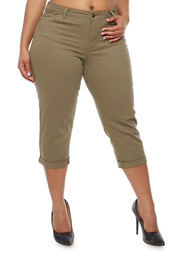 Plus Size Cuffed Capri Pants,OLIVE,large