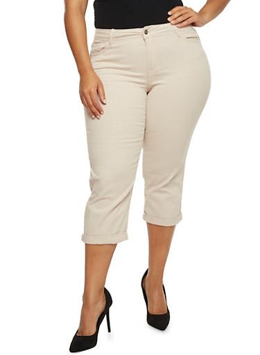 Plus Size Cuffed Capri Pants,STONE,large