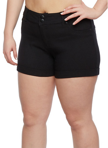 Plus Size Twill Shorts with Rolled Cuffs,BLACK,large