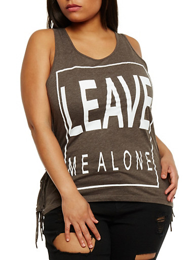Plus Size Leave Me Alone Graphic Fringe Trim Top,CHARCOAL,large