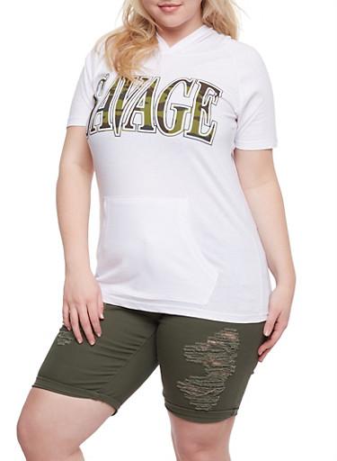 Plus Size Savage Camo Graphic Top,WHITE,large