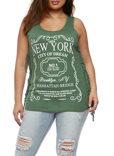 Plus Size New York Graphic Fringe Tank Top,GREEN,large