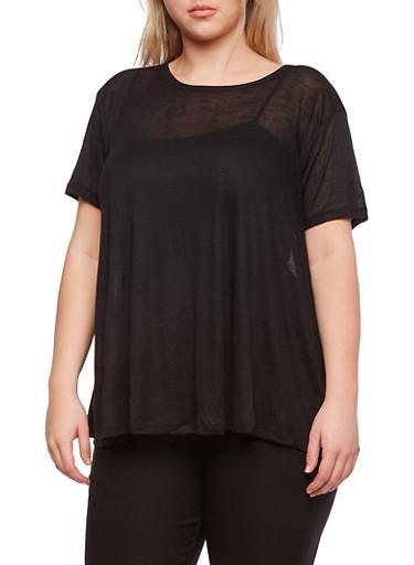 Plus Size Sheer Swing Top,BLACK,large