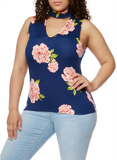 Plus Size Floral Sleeveless Choker Top,NAVY,large