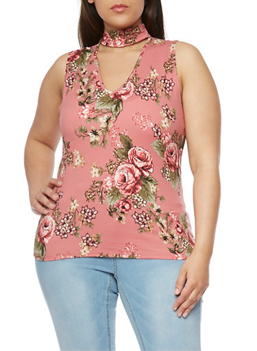 Plus Size Floral Sleeveless Choker Top,DUSTY ROSE,large
