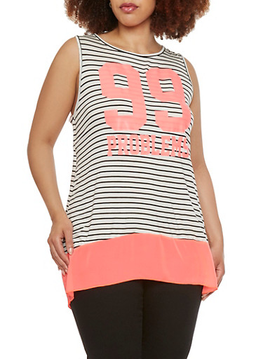 Plus Size Striped Tunic Top with 99 Problems Print,NEON PINK,large