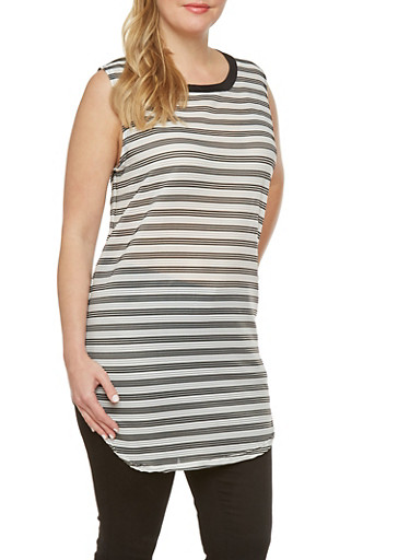 Plus Ribbed Tunic Top with Two Tone Stripes,BLACK/WHITE,large