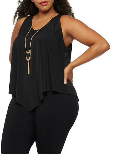 Plus Size Sleeveless Top with Necklace,BLACK,large
