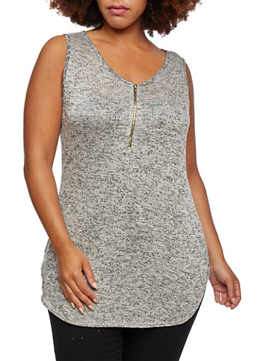 Plus Size Knit Tunic Top with Front Zip Accent,HEATHER/GREY,large
