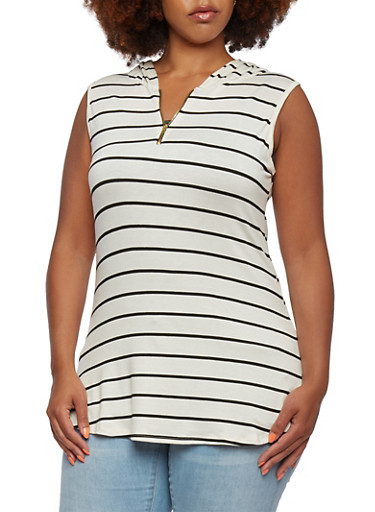 Plus Size Sleeveless Striped Top with Hood and Zipper Neckline,WHITE/BLK,large
