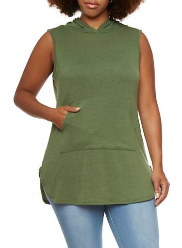 Plus Size Sleeveless Hoodie with Kangaroo Pocket,OLIVE,large