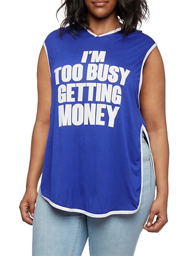 Plus Size Graphic Hooded Muscle Tee with Im Too Busy Getting Money Print,NAVY/WHITE,large