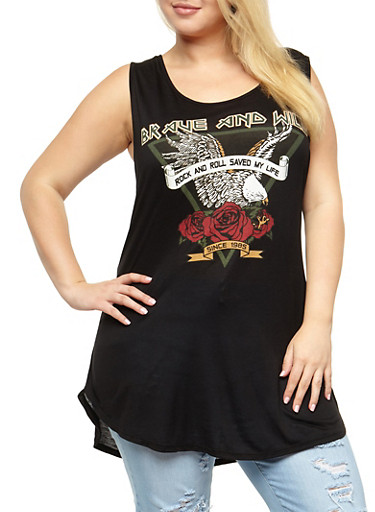 Plus Size Brave and Wild Slashed Top at Rainbow Shops in Daytona Beach, FL | Tuggl
