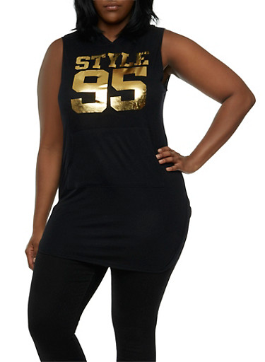 Plus Size Hooded Tunic Top with Metallic Style 95 Graphic,BLACK,large