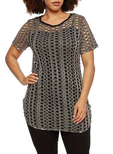 Plus Size Open-Knit Tunic Top,GRAY,large