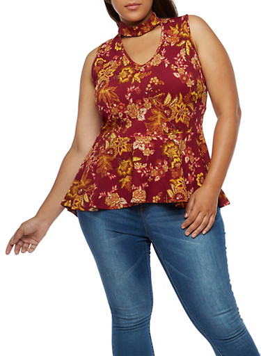 Plus Size Floral Sleeveless Peplum Top,BURGUNDY  NB6159,large