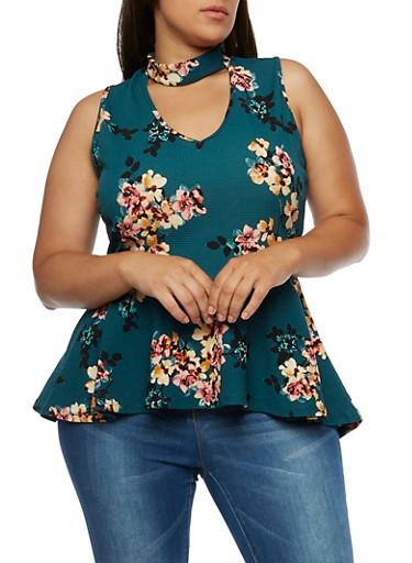 Plus Size Floral High Low Peplum Top,HUNTER GREEN NB 161007,large