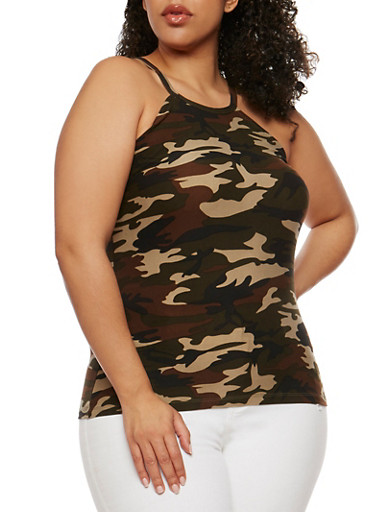 Plus Size Camouflage Print Cami,CAMOUFLAGE,large