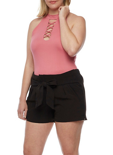 Plus Size Sleeveless Caged Choker Top,FUCHSIA,large