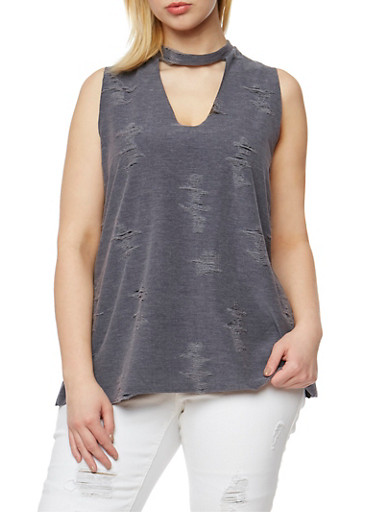 Plus Size Sleeveless Distressed V Neck Choker Top,CHARCOAL,large