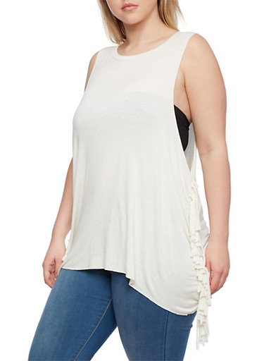 Plus Size Muscle Tank Top with Fringe Sides,IVORY,large