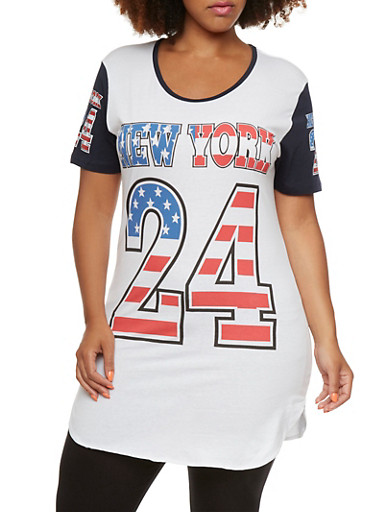 Plus Size Patriotic New York Graphic Top,WHITE/NAVY/RED,large