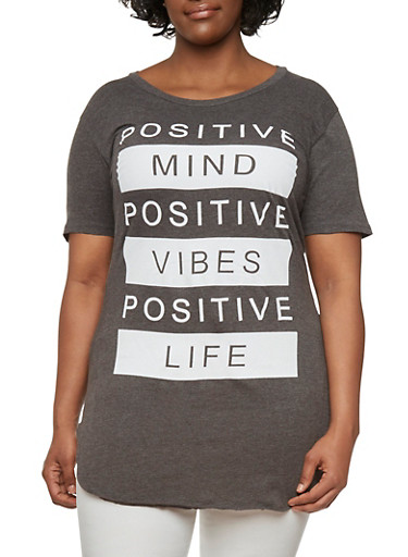 Plus Size Graphic Top with Positive Vibes Print,CHARCOAL,large