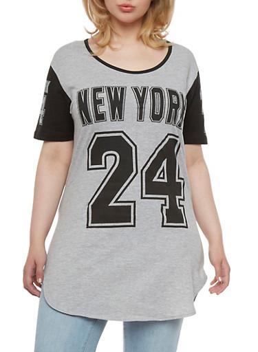 Plus Size New York 24 Varsity Tunic Top,HEATHER GREY/BLACK,large